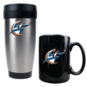 Washington Wizards Stainless Steel Travel Tumbler & Black Ceramic Mug Set