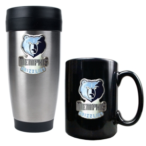 Memphis Grizzlies Stainless Steel Travel Tumbler & Black Ceramic Mug Set
