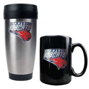 Charlotte Bobcats Stainless Steel Travel Tumbler & Black Ceramic Mug Set