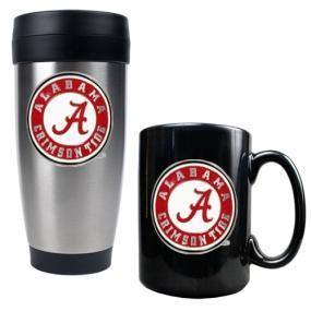 Alabama Crimson Tide Stainless Steel Travel Tumbler & Ceramic Mug Set