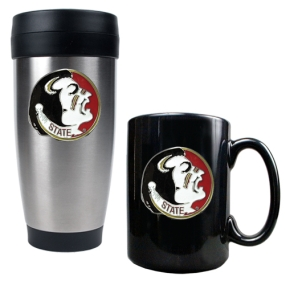 Florida State Seminoles Stainless Steel Travel Tumbler & Ceramic Mug Set