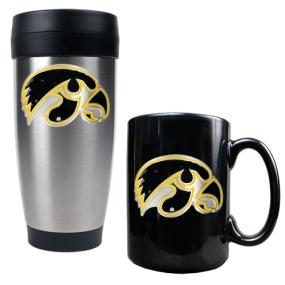 Iowa Hawkeyes Stainless Steel Travel Tumbler & Ceramic Mug Set