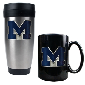 Michigan Wolverines Stainless Steel Travel Tumbler & Ceramic Mug Set