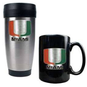 Miami Hurricanes Stainless Steel Travel Tumbler & Ceramic Mug Set