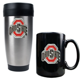 Ohio State Buckeyes Stainless Steel Travel Tumbler & Ceramic Mug Set