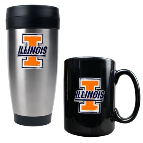 Illinois Fighting Illini Stainless Steel Travel Tumbler & Ceramic Mug Set