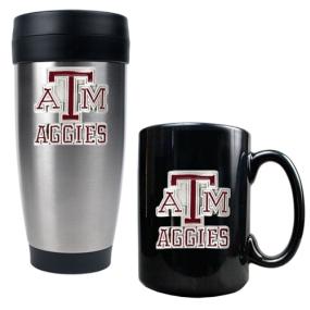 Texas A&M Aggies Stainless Steel Travel Tumbler & Ceramic Mug Set