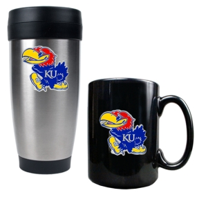 Kansas Jayhawks Stainless Steel Travel Tumbler & Ceramic Mug Set