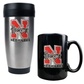 Nebraska Cornhuskers Stainless Steel Travel Tumbler & Ceramic Mug Set