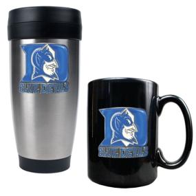 Duke Blue Devils Stainless Steel Travel Tumbler & Ceramic Mug Set