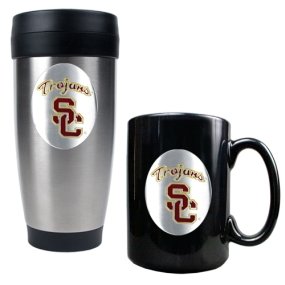 USC Trojans Stainless Steel Travel Tumbler & Ceramic Mug Set