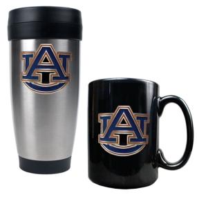 Auburn Tigers Stainless Steel Travel Tumbler & Ceramic Mug Set