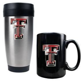 Texas Tech Red Raiders Stainless Steel Travel Tumbler & Ceramic Mug Set