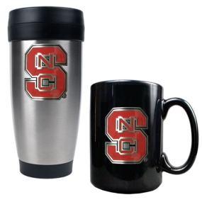 N.C. State Wolfpack Stainless Steel Travel Tumbler & Ceramic Mug Set