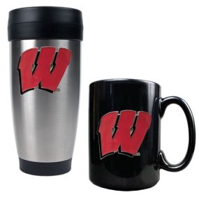 Wisconsin Badgers Stainless Steel Travel Tumbler & Ceramic Mug Set