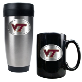 Virginia Tech Hokies Stainless Steel Travel Tumbler & Ceramic Mug Set