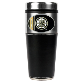 Boston Bruins 16oz Travel Tumbler with Black Sleeve