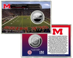 University of Mississippi Vaught-Hemmingway Stadium Silver Coin Card