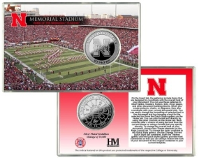 University of Nebraska Memorial Stadium Silver Coin Card