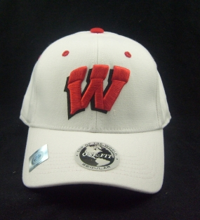 Wisconsin Badgers White One Fit Hat
