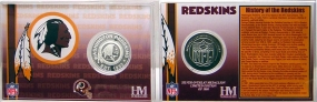 Washington Redskins Team History Silver Coin Card