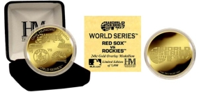 2007 WORLD SERIES COMMEMORATIVE 24KT GOLD COIN Red Sox & Rockies Dueling Logo's