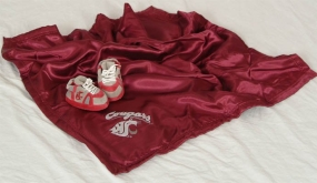 Washington State Cougars Baby Blanket and Slippers