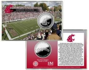 Washington State University Martin Stadium Silver Coin Card
