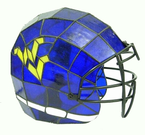 West Virginia Mountaineers Glass Helmet Lamp