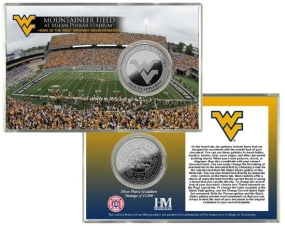 West Virginia University Mountaineer Field  Silver Coin Card