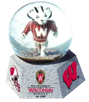 WISCONSIN U BADGERS MASCOT MUSICAL GLOBE