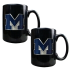 Michigan Wolverines 2pc Black Ceramic Mug Set