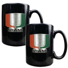 Miami Hurricanes 2pc Black Ceramic Mug Set