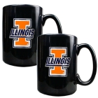 Illinois Fighting Illini 2pc Black Ceramic Mug Set