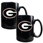 Georgia Bulldogs 2pc Black Ceramic Mug Set